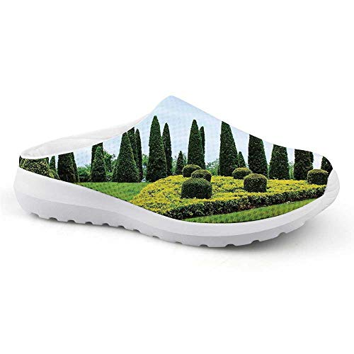 Country Home Decor Comfortable Summer Mesh Sandals,Classic Formal Designed Garden with Evergreen Shrubs Boxwood Topiaries for Women,US Size11