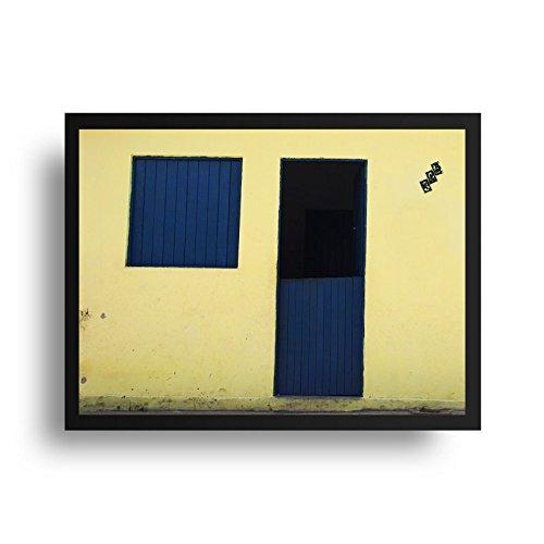 Quadro Fotografia Janela azul - Molura Preta - 50 x 70 cm