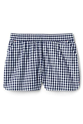 - Lands' End Little Girls Pattern Woven Pull On Shorts Navy Gingham