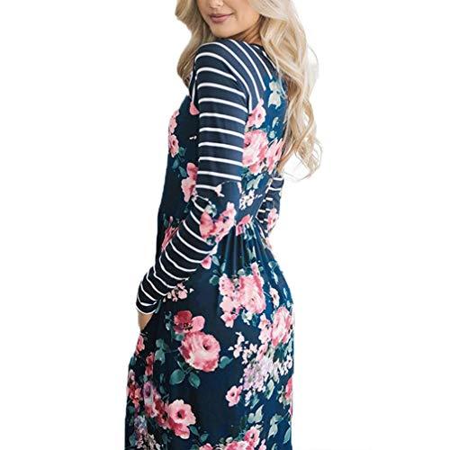 Faldas Largas Mujer Verano Rayas, Zolimx Mujeres de Manga Larga Una Línea de Ropa de Impresión Floral Suelta Vestido de Fiesta Casual Vestido Azul