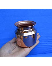 Handmade Copper Indian Hindu Puja Lota Kalash Vessel - Home Decor Lota For Festival Puja Container (Copper Kalash 1)