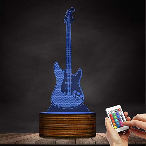 Novelty Lamp, 3D LED Lamp Optical Illusion Guitar Night Light, USB Powered Remote Control Changes The Color of The Light, Children's Friends Birthday Party, Ambient Light by LIX-XYD (Image #5)