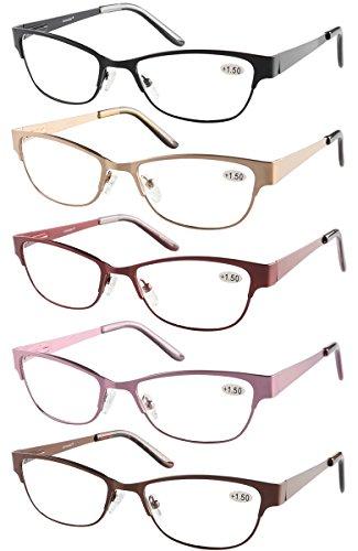 How To Identify Glasses Frame Material : Eyecedar Metal Reading Glasses Women 5-Pack Rim Frame ...