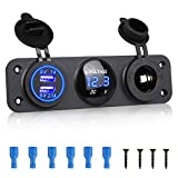 EEEKit 3 in 1 Charger Socket Panel, Dual USB 12V Car Socket Charger Socket Power Outlet + LED Digital Voltmeter + Cigarette Lighter Socket Splitter Adapter for Car Boat Marine RV Truck