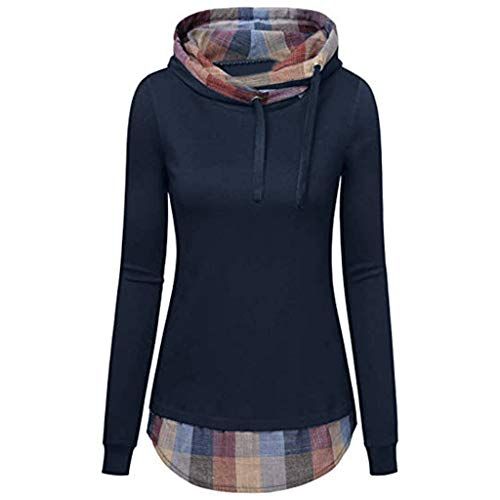 Neck Cable Funnel - HULKAY Hooded Sweatshirt for Women Women's Funnel Neck Check Contrast Pullover Hoodie Top(Navy,S)