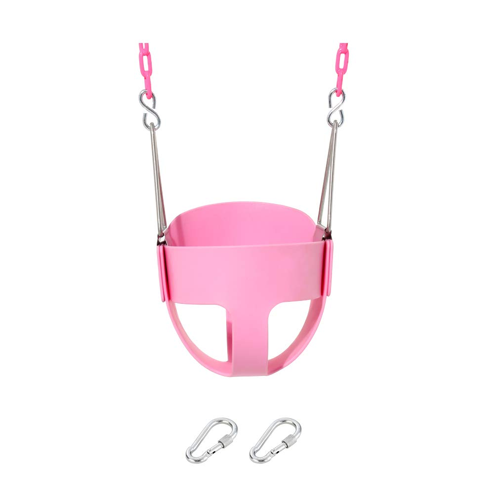 Naughty Jungle Pink Heavy-Duty Toddler High Back Full Bucket Swing Set Accessories with Coated Swing Chains Fully Assembled (Pink) by Naughty Jungle