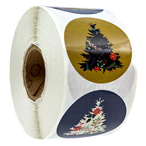 Patterned Holiday Trees Christmas Stickers / 8 Alternating Floral Holiday Tree Designs / 500 Christmas Stickers