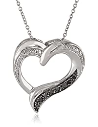 Sterling Silver 1/10cttw Black Diamond Heart Pendant Necklace, 18""