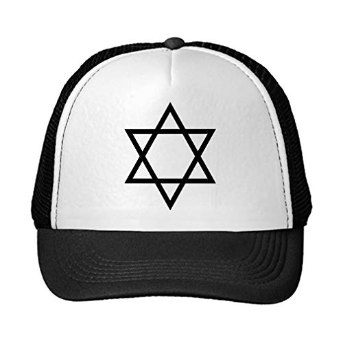 Trucker Hat Star of David Hanukkah #3 Polyester Baseball Mesh Cap Snaps Black/Black One Size for $<!--$14.99-->
