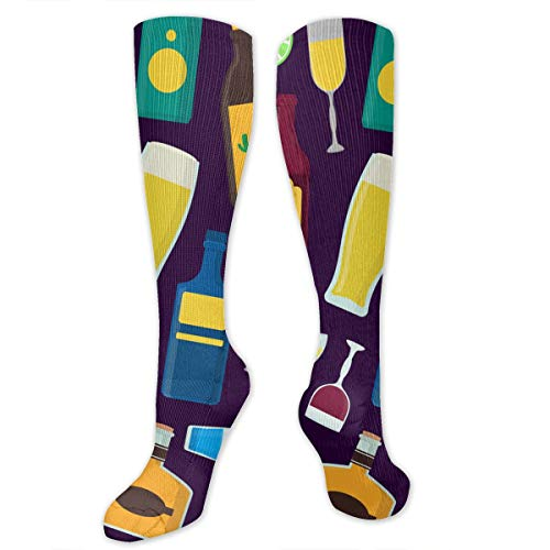 SARA NELL Knee High Socks Cartoon Alcoholic Beverages Men Women Knee High Stockings Tube Socks Knee High Compression Athletic Socks Personalized Gift Socks for Women Teens Girls -
