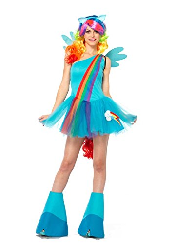 Leg Avenue Women's My Little Pony Friendship Is Magic 6 Piece Rainbow Dash Costume, Blue, (My Little Pony Womens Costume)