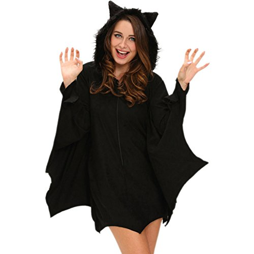 Catwoman Costume Naughty (Wincolor Halloween Masquerade Cosplay Black Hooded Bat Nightclub Role Play)