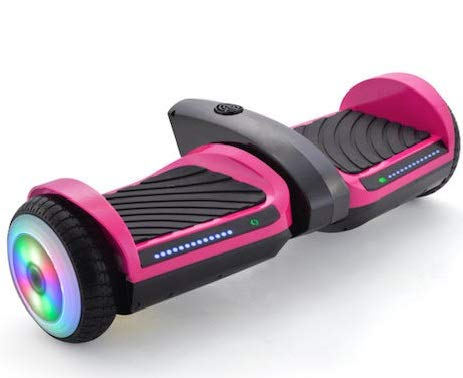 KFW 6.5″ Smart Self-Balanced Scooter Hoverboard UL-2272 Certified, Build-in Bluetooth Speaker,New Designed Colorful LED Wheels, LED Fender & Front Lights (Pink)