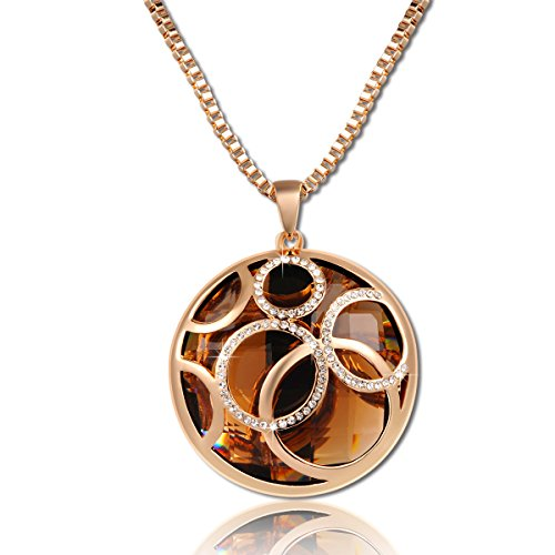 QIANSE Mothers Day Necklaces Gifts For Women Golden Life Rolling Ball Brown Austrian Crystal Pendant Necklace With Rose Gold Long Chain