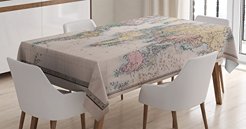 Ambesonne Wanderlust Decor Tablecloth, Original Old Hand Colored Map of (Hand Printed Tablecloth)
