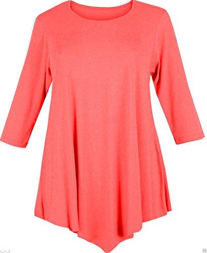 Señoras tres trimestre manga V Cut Cuello Redondo Baggy Loose Swing vestido túnica top Coral