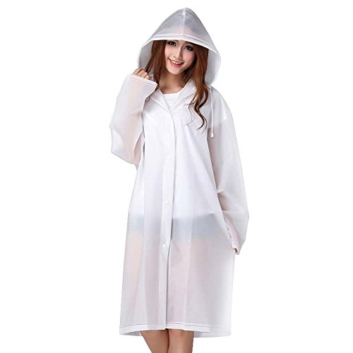 1 x Unisex Raincoat - Translucent Rain Poncho / Reusable Thicken Rainwear / Dull Polish Waterproof Jacket with Hoods for Traveling / Shopping (XL,White) - Translucent Cashmere