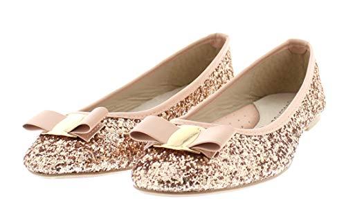(Gold Toe Women's Tempest Metallic Sequin Sparkle Ballet Flat Slipon Dress Pump Bow Ballerina Skimmer Shoe Pink 8 US)