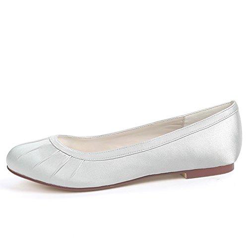 à Silk Femme Chaussures Toe Main Demoiselles YC Fermé TêTe Chunky La Dentelle Robe L Ronde 6cm d'honneur Ivoire Mariage De 0 I8qn6Aw