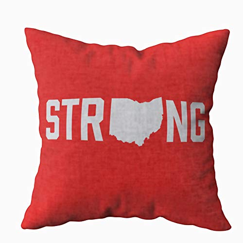 TOMWISH Hidden Zippered Pillowcase Ohio State Strong Accent 18X18Inch,Decorative Throw Custom Cotton Pillow Case Cushion Cover for Home Sofas,bedrooms,Offices,and More