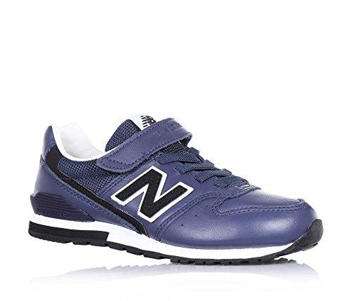 NEW BALANCE - Blauer Sportschuh, aus Leder, mit Klettverschluss, elastische Schnürsenkel, seitlich und hinten ein Logo, sichtbare Nähte und Gummisohle, Jungen Weiß-Schwarz-Dunkelblau