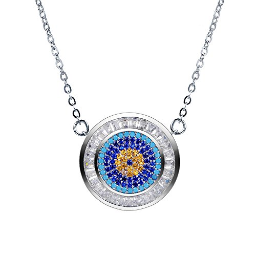 (XZP Evil Eye Necklace Sterling Silver Plated Round Pendant Blue CZ Eye Charm Necklace )