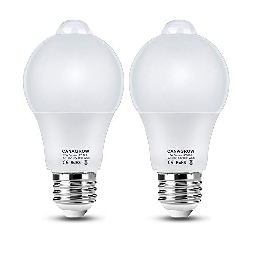 Motion Sensor Light Bulb Indoor Outdoor, CANAGROW A70 12W (120-Watt Equivalent) E26 Motion Activated Dusk to Dawn Light Bulb, Smart LED Night Lights for Front Door Porch Garage Basement, 2 Pack