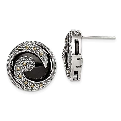 925 Sterling Silver Black Onyx Marcasite Post Stud Earrings Ball Button Fine Jewelry Gifts For Women For Her
