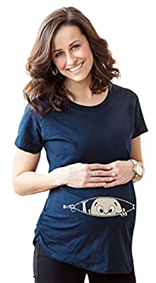 Women's Caucasian Peeking Baby Maternity T-Shirt Cute Funny Pregnancy Tee