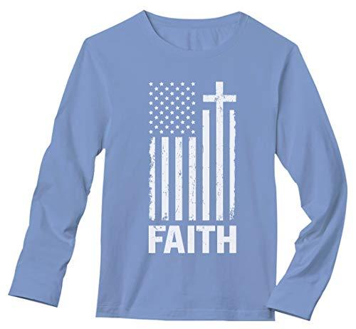 Christian Distressed White USA Flag - Cross Have Faith Long Sleeve T-Shirt Medium Light Blue