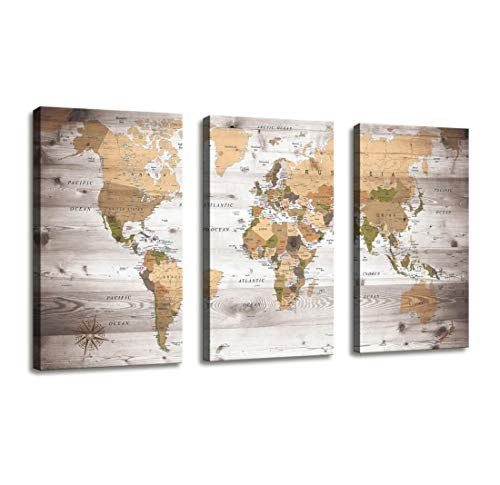 Canvas Wall Art World Map Poster Vintage Photos Painting Nautical Office Decor - 3 Panels Large Modern Framed Wall Art Map of The World Canvas Prints for Living Room Home Decor Overall 48 x 28 Inches (Map Pictures)