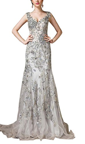 Sayadress Women's Lace Applique Beads V-neck Tulle Summer Bodycon Prom Dress Gray US16 by Sayadress