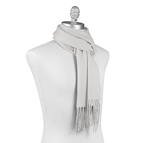 KÖLN Cashmere Wool Scarf for Woman and Men - Premium Quality 100% Pashmina Cashmere, Unisex Design - White (Womens Cashmere Wool)