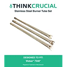 "3 Long Lasting Stainless Steel Burner Tube Set & Connector, Fits Weber Grills, Part # 7508, 28"" x 1"" x 1"", by Think Crucial"