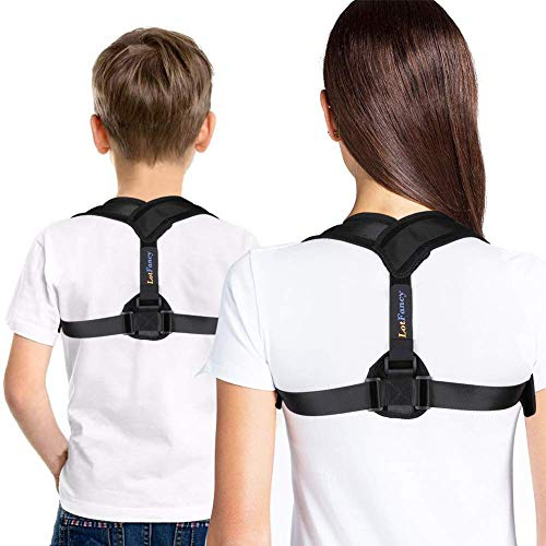 LotFancy Posture Corrector for Women, Kids Over 10, Teens Under Clothes, Clavicle Brace, Adjustable Back Straightener for Shoulder Neck Back Pain Relief Small (30-36 in Chest Circumference)