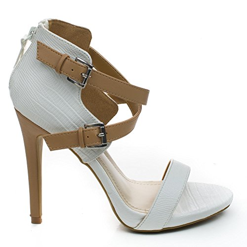 Stiletto Criss Cross Ankle Strap (Newbee11 White Two Tone Criss Cross Cut Out Ankle Strap Zipper Buckle High Heel-9)