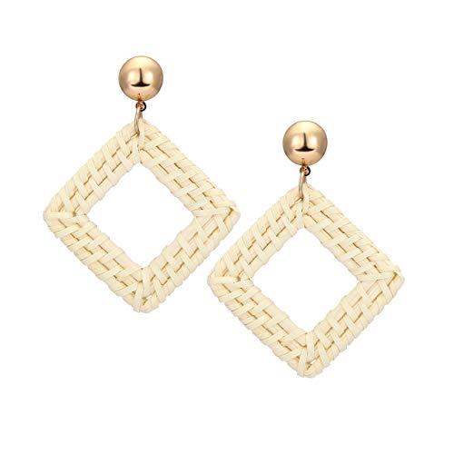 - CENAPOG Natural Rattan Hoop Earrings for Women Bohemian Handwoven Wicker Dangle Earrings Straw Bamboo Drop Earrings Statement Handmade Jewelry Weaving Braid Hoops Earrings (Square-White)