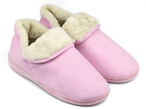 Dasein Women Soft Faux Fur Lined Suede House Slippers Memory Foam Slippers Anti-Skid Winter Indoor Outdoor Bootie Boot