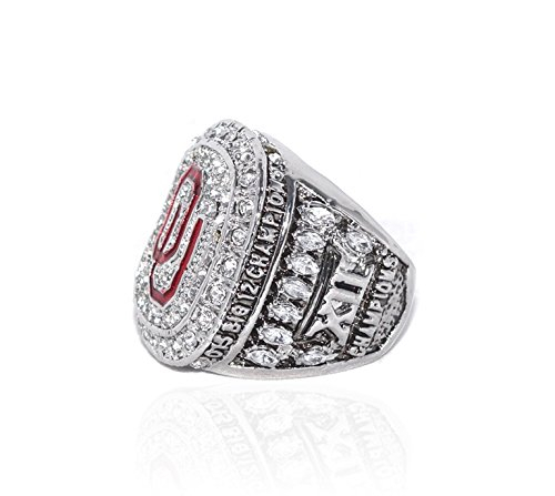 UNIVERSITY OF OKLAHOMA SOONERS (Baker Mayfield) 2015 BIG 12 CHAMPIONS Collectible High Quality Replica NCAA Football Silver Championship Ring with Cherrywood Display Box