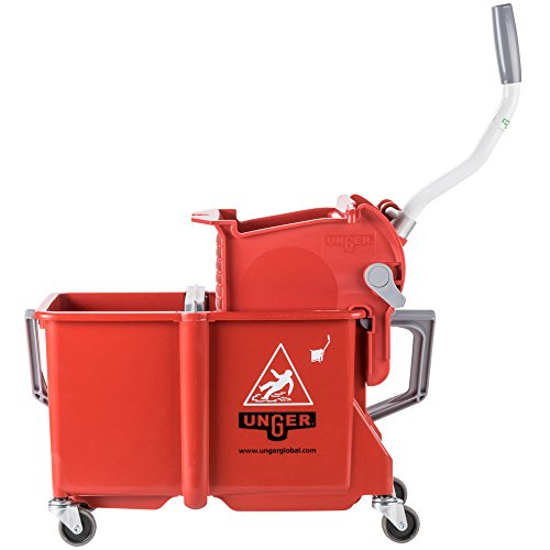 Unger COMSR 4 Gallon Red Mop Bucket with Side-Press Wringer by TableTop King