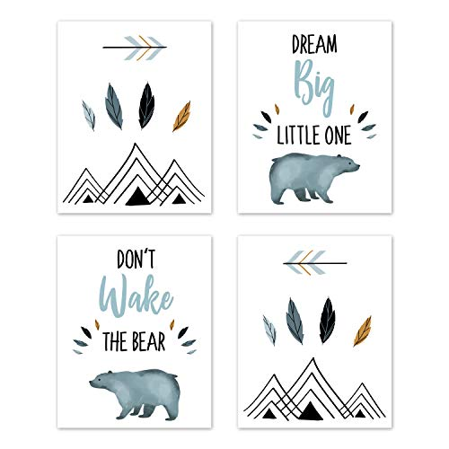 Sweet Jojo Designs Slate Blue and White Wall Art Prints Room Decor for Baby, Nursery, and Kids for Bear Mountain Watercolor Collection - Set of 4 - Dream Big, Don't Wake The Bear