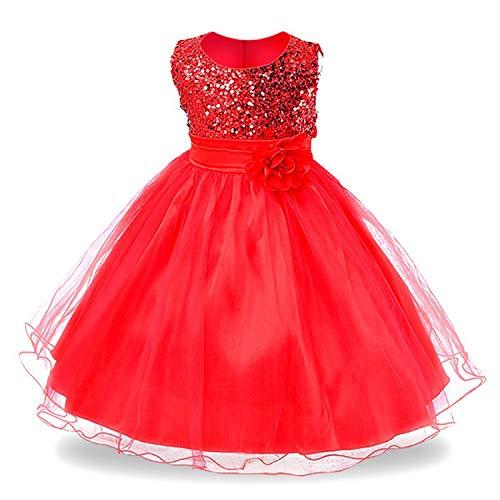 Baby Girls Infant Embroidery Dress Kids Gold Wedding Toddler High-End Dress Flower Tutu Formal Party Dress Girls,Xd045-Red,8 for $<!--$24.52-->