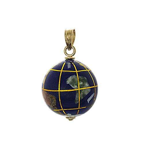 14k Yellow Gold Travel Charm Pendant, 3D Enamel World Globe 14k Gold Globe Charm