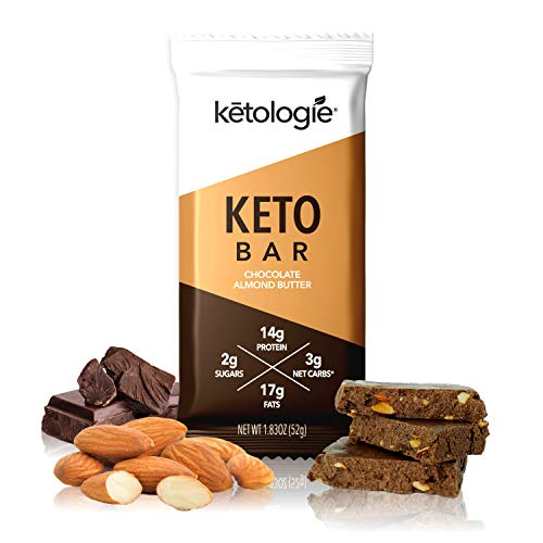 Ketologie Keto Bar – Chocolate Almond Butter (12 Bars), Natural Keto Nutritional Snack Bars, 3g Net Carbs, 14g Protein, Collagen, Whey, Almond, Cashew, Coconut Oil, Sea Salt and Naturally Sweetened.