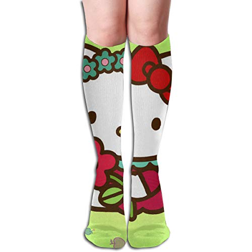 JINUNNU Knee High Tube Socks Hello Kitty with Flower Rainbow Boot Socks for Girl Women