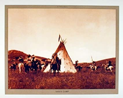 Sioux Camp Edward S. Curtis Native American Wall Decor Art Print Poster  (16x20)