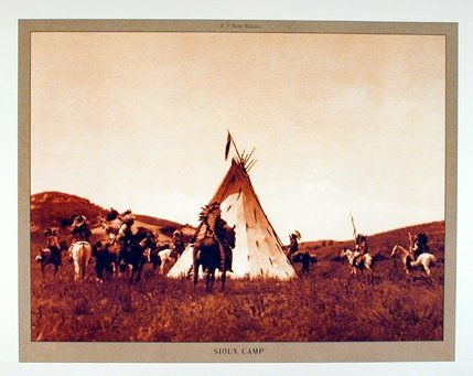 Sioux Camp Edward S. Curtis Native American Wall Decor Art Print Poster