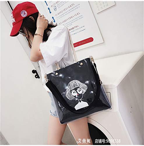 coréenne à grand en main toile littéraire sauvage vague nouvelle à transparente sac Messenger Sacs bandoulière sac Bag Noir main de de sac gelée à LANDONA wRqXHOWUn