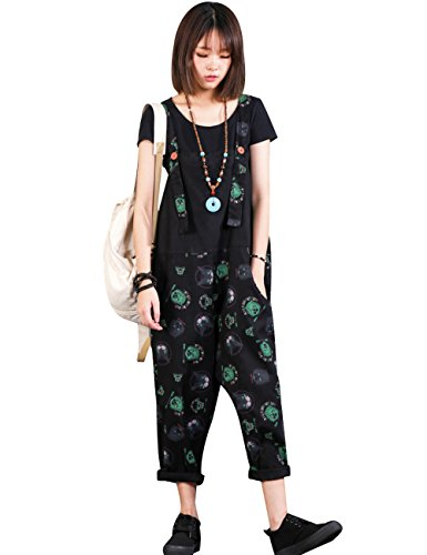 Zoulee Women Strap Rompers Jumpsuits Denim Casual Bib Pants Floral Wide Leg Cropped Pants Overalls Style 4 Black by Zoulee (Image #1)
