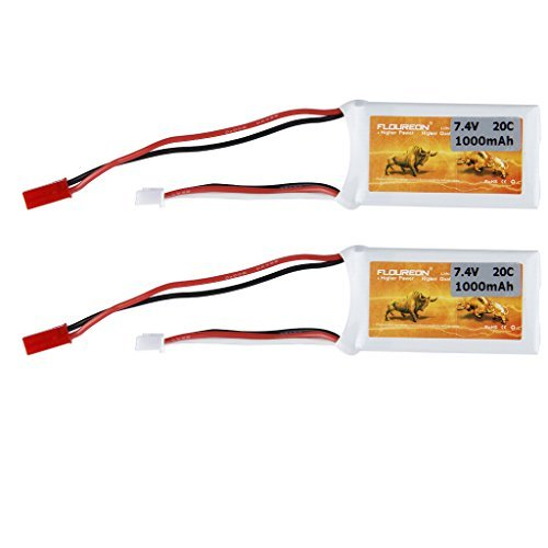 Floureon 2 Packs 7.4V 20C 1000mAh Lipo Li-Polymer RC Battery with JST Plug Connector for RC Airplane, RC Helicopter, RC Car/Truck, RC Boat RC Hobby